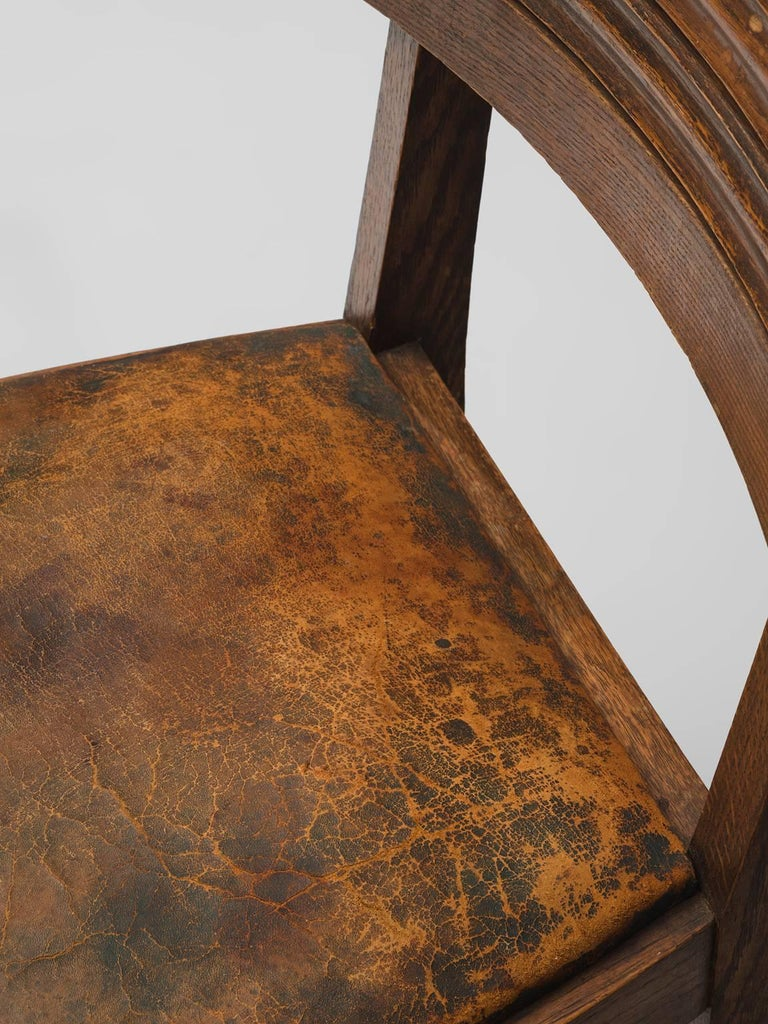 Gaston Poisson Set of Six Leather and Oak Dining Chairs For Sale 4