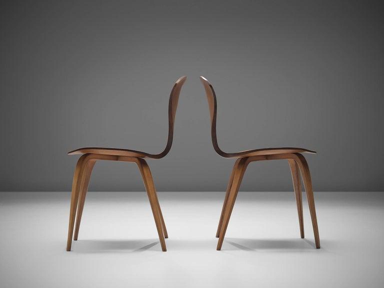 Norman Cherner for Plycraft Four Walnut Dining Chairs In Good Condition For Sale In Waalwijk, NL