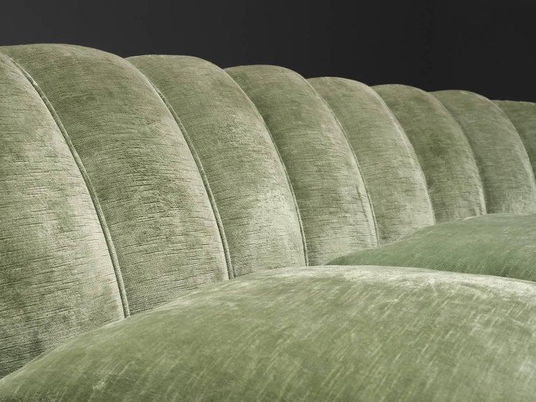 Italian Large Green Velvet Midcentury Sofa For Sale