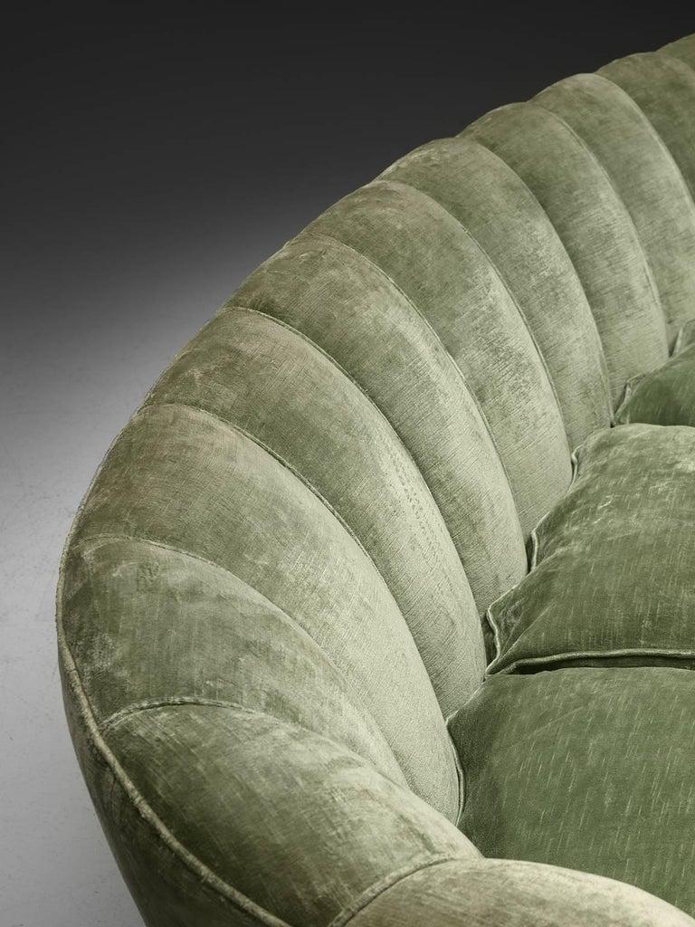 Mid-20th Century Large Green Velvet Midcentury Sofa For Sale
