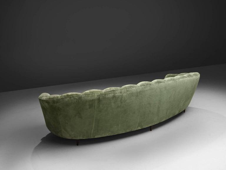 Large Green Velvet Midcentury Sofa For Sale 1
