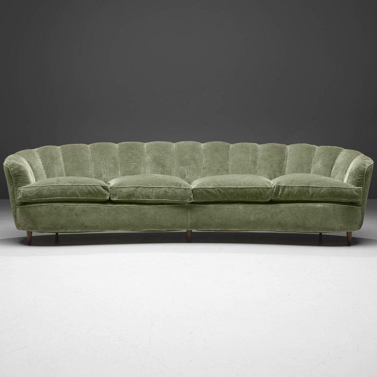 Large Green Velvet Midcentury Sofa For Sale 2