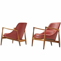 Ib Kofod-Larsen 'Elizabeth' Chairs in Red Leather and Oak