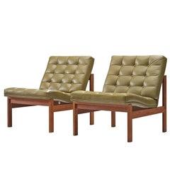 Ole Gjerløv-Knudsen & Torben Lind for France & Son Green Leather Lounge Chairs
