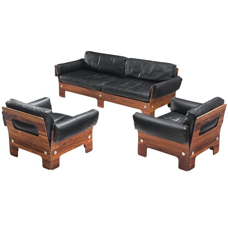 Scandinavian Sofa Set in Rosewood and Leather