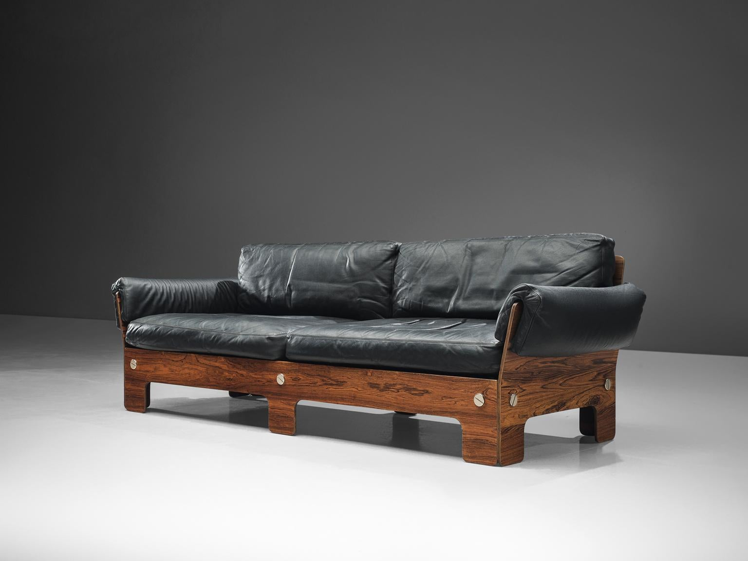 Sofa, Rosewood And Black Leather, Norway, 1960s This Sofa Presents Very  Comfortable Elements