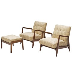 Jens Risom Set of Two Lounge Chairs with Ottoman