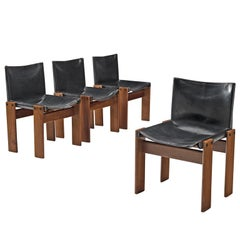 Afra & Tobia Scarpa 'Monk' Set of Four Chairs in Black Leather
