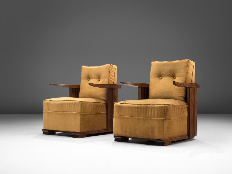 French Art Deco Club Chairs in Ocre Velvet and Oak For Sale
