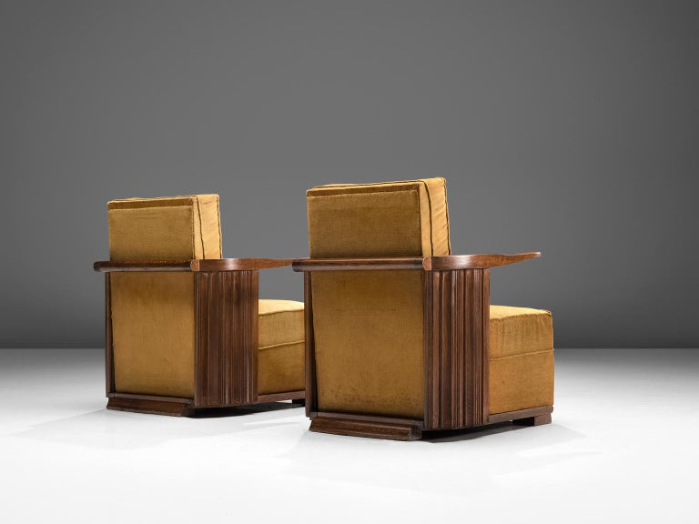 Art Deco Club Chairs in Ocre Velvet and Oak In Good Condition For Sale In Waalwijk, NL