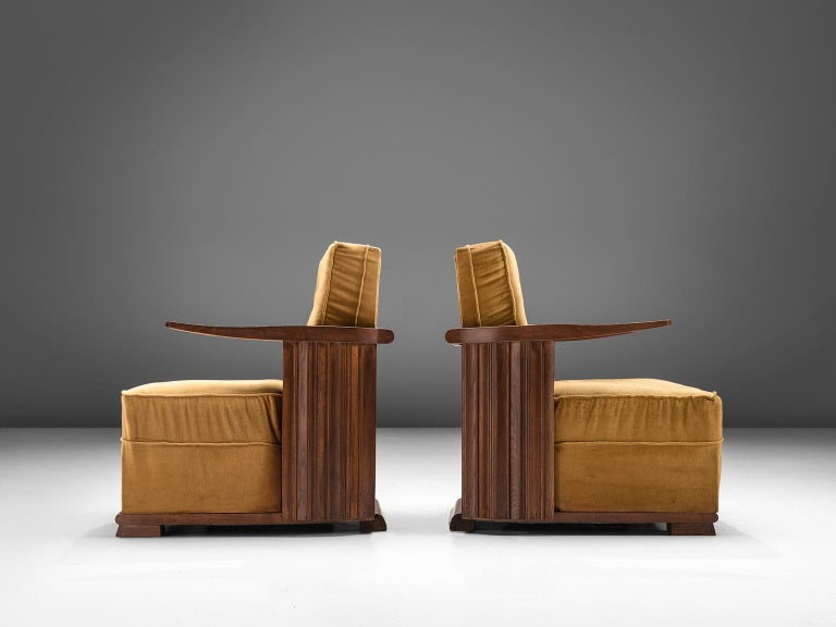 Early 20th Century Art Deco Club Chairs in Ocre Velvet and Oak For Sale