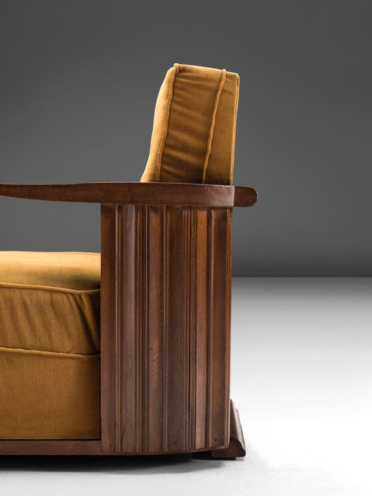 Art Deco Club Chairs in Ocre Velvet and Oak For Sale 1