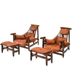 Pair of Jean Gillon 'Jangada' Brazilian Armchairs and Ottomans