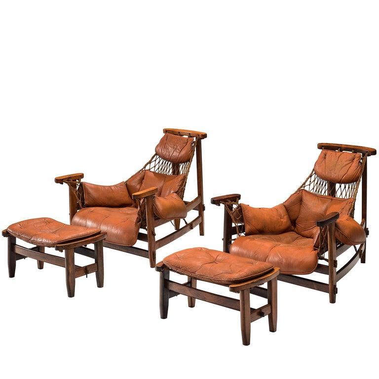 Pair of Jean Gillon 'Jangada' Brazilian Armchairs and Ottomans