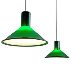 Pair of Michael Bang for Holmegaard Dark Green Pendants