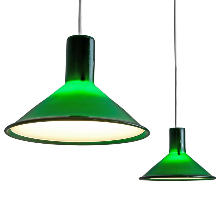 Pair of Michael Bang for Holmegaard Dark Green Pendants