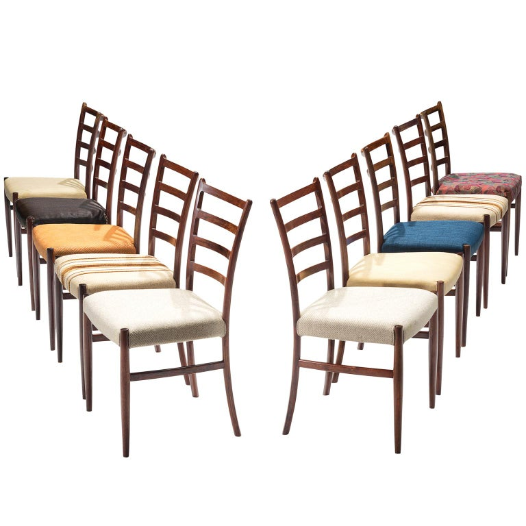 Set of Ten Rosewood Dining Chairs