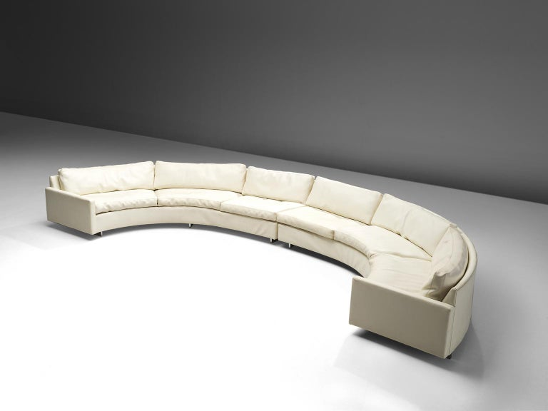 Milo Baughman for Thayer Coggin, sofa model 825, white leather, USA, 1980s