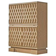 Illuminated Brutalist High Cabinet with Structured Oak Doors