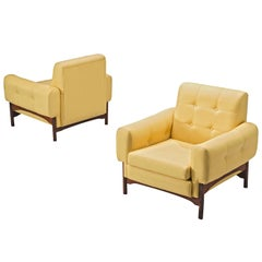 Saporiti Yellow Lounge Chairs with Rosewood Frame