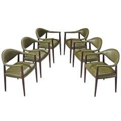 Juan Gamboa Six Green Leather Dining Chairs