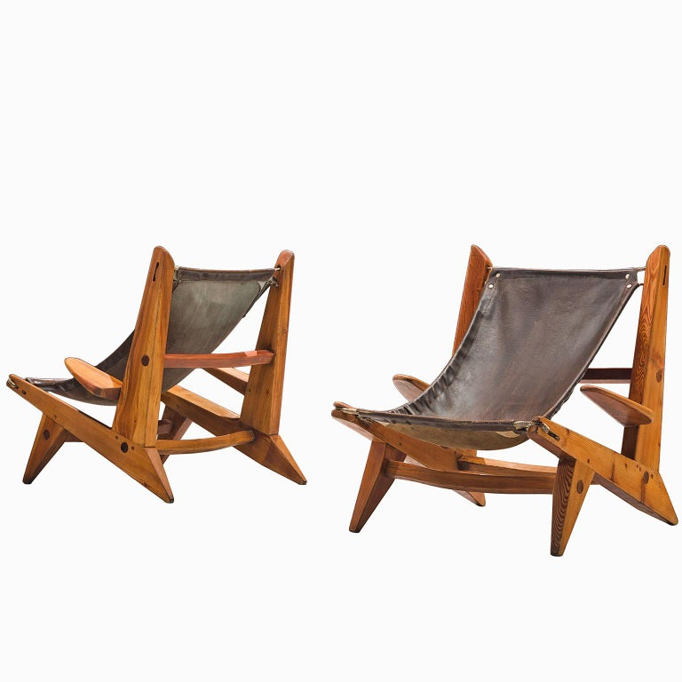 French Set of Pine and Leather Hunting Chairs