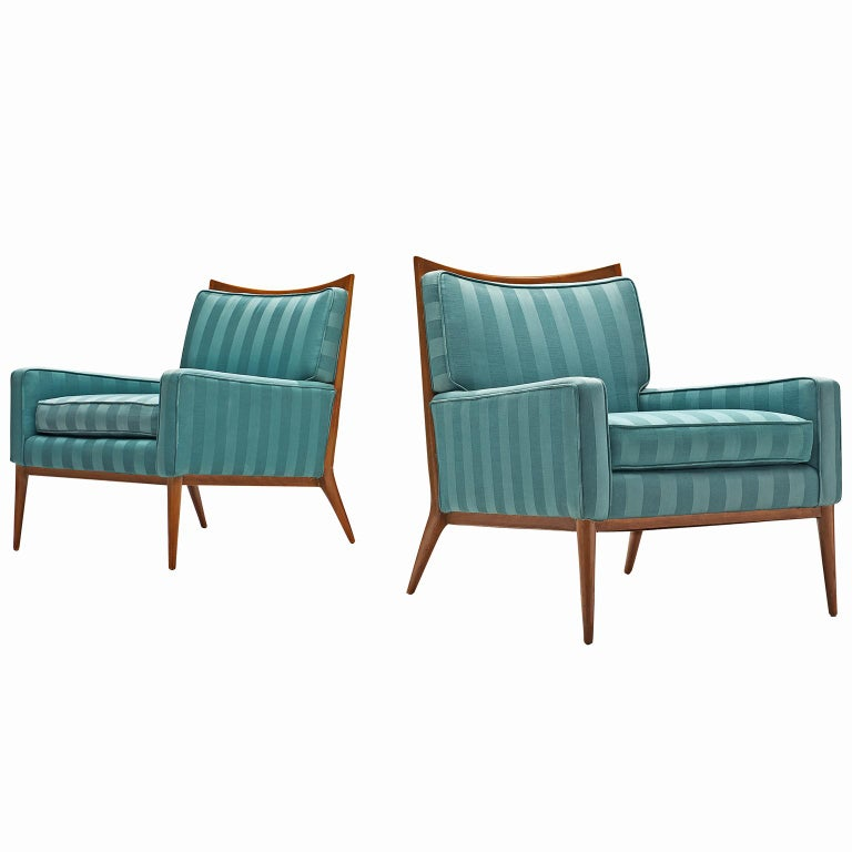 Paul McCobb Walnut Lounge Chairs in Original Fabric