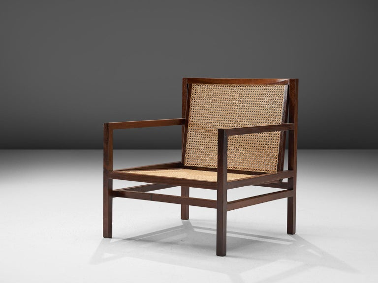 Joaquim Tenreiro, armchair, rosewood and cane, Brazil, 1958