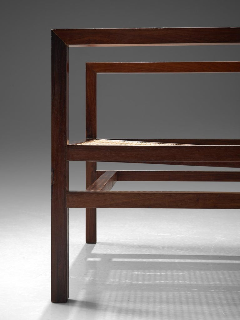 Mid-20th Century Joaquim Tenreiro Cane and Rosewood Armchair, circa 1958 For Sale