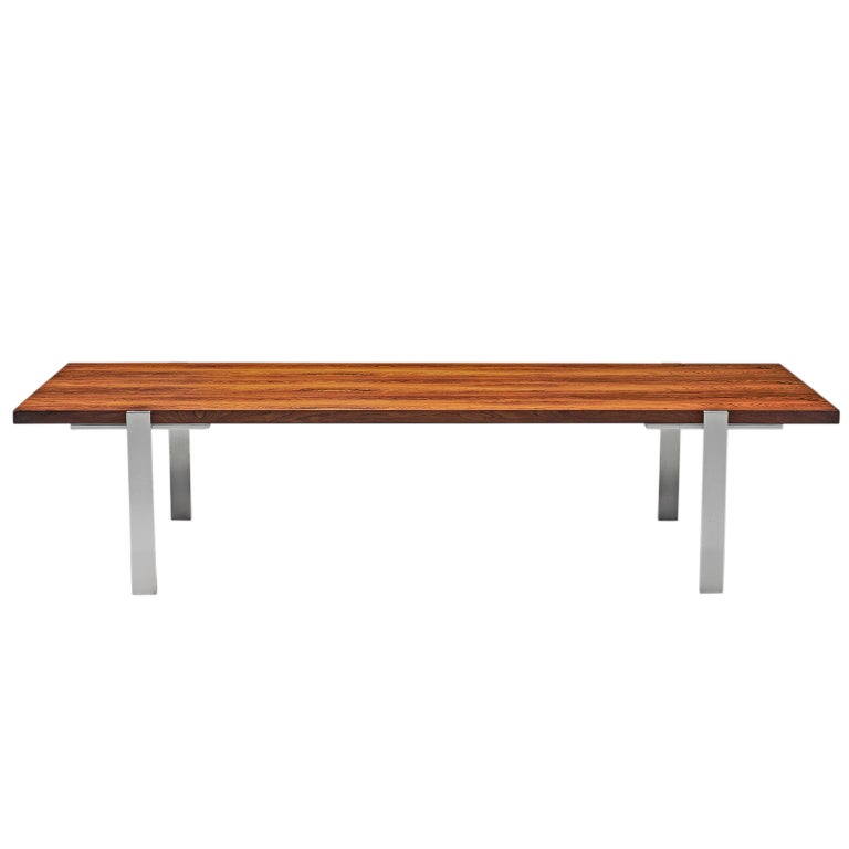 Modernist Dutch Rosewood and Polished Steel Coffee Table For Sale