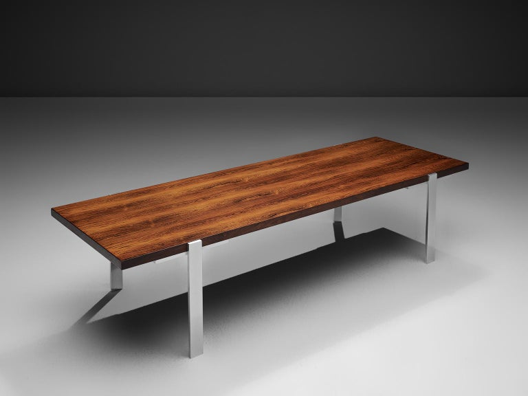 Scandinavian Modern Modernist Dutch Rosewood and Polished Steel Coffee Table For Sale
