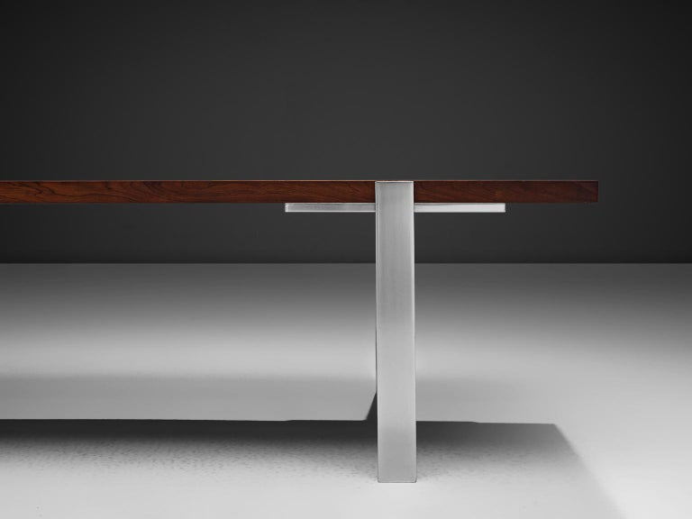 Mid-20th Century Modernist Dutch Rosewood and Polished Steel Coffee Table For Sale