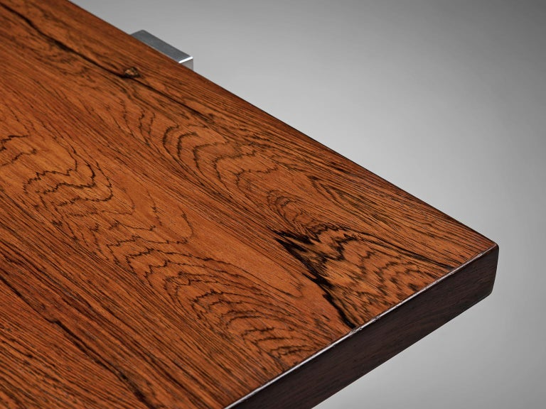 Modernist Dutch Rosewood and Polished Steel Coffee Table For Sale 1
