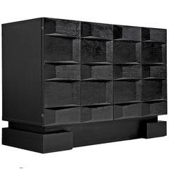 Brutalist Small Black Cabinet