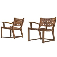 Pair of Armchairs with Cognac Leather Webbed Back and Seat