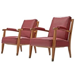 Jules Leleu Armchairs with Burgundy-Pink Leatherette