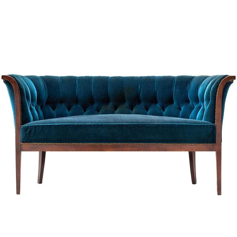 Clic Danish Sofa In Blue Velvet Ca 1940 For