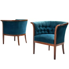 Danish Velvet Blue Mahogany Club Chairs