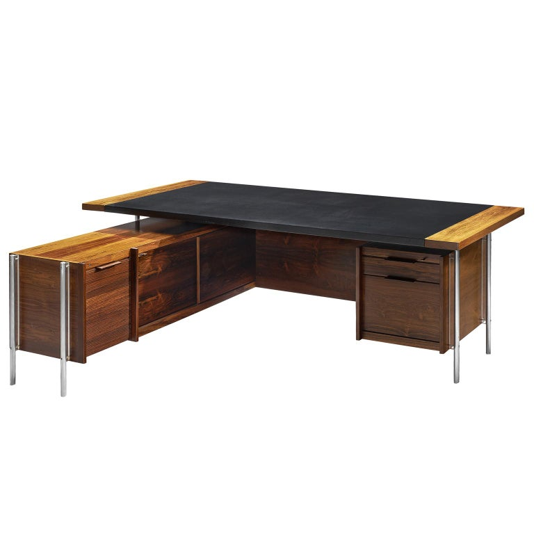 Sven Ivar Dysthe Executive Desk with Steel and Rosewood