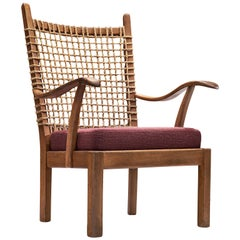 Dutch Armchair with Rope Back, 1940s