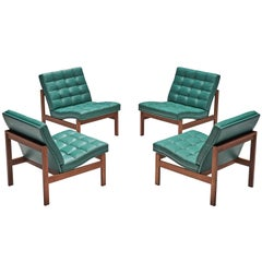 Knudsen & Lind Moduline Turquoise Leather Lounge Chairs