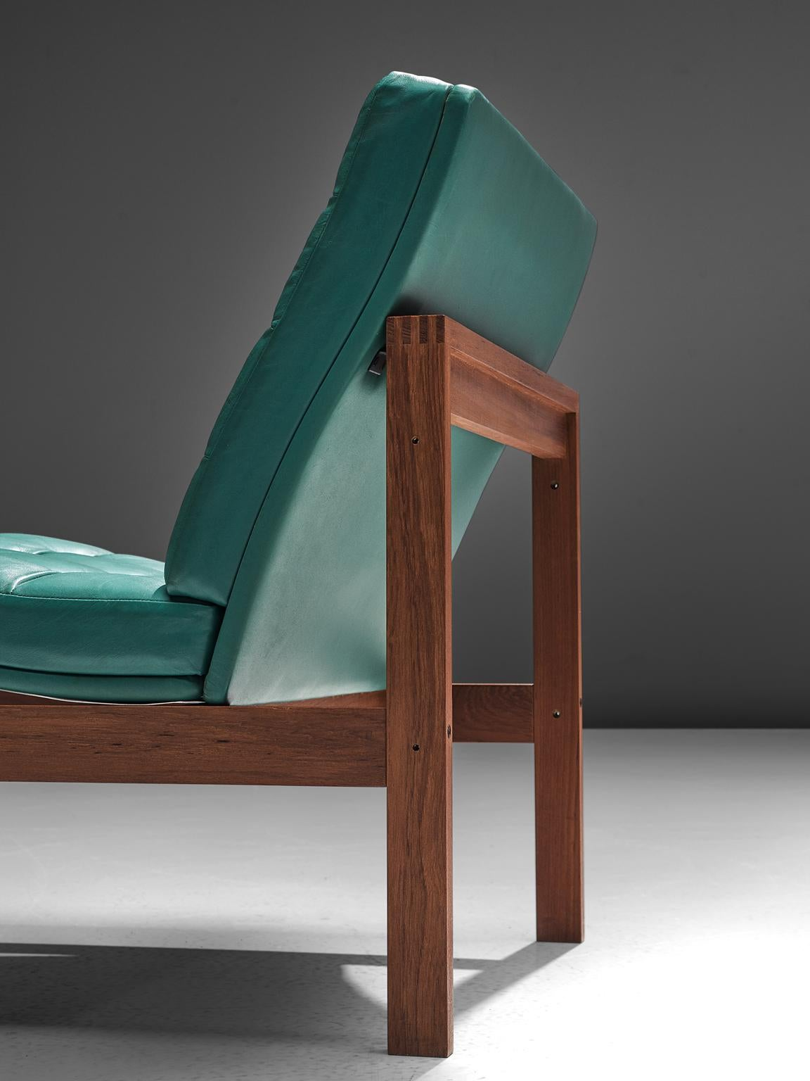 Incroyable Mid 20th Century Knudsen U0026 Lind Moduline Turquoise Leather Lounge Chairs  For Sale
