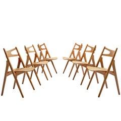 Hans J. Wegner Set of Six Sawbuck Chairs