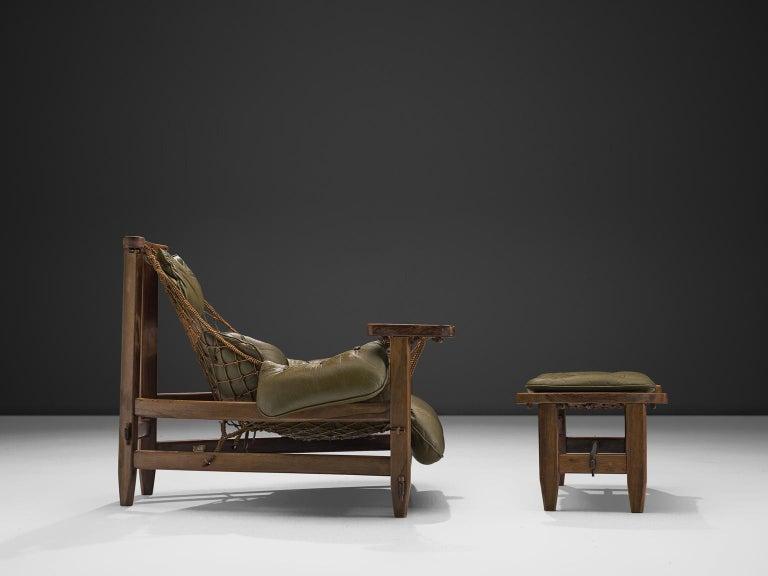 Brazilian Jean Gillon Jangada Lounge Chair with Ottoman For Sale