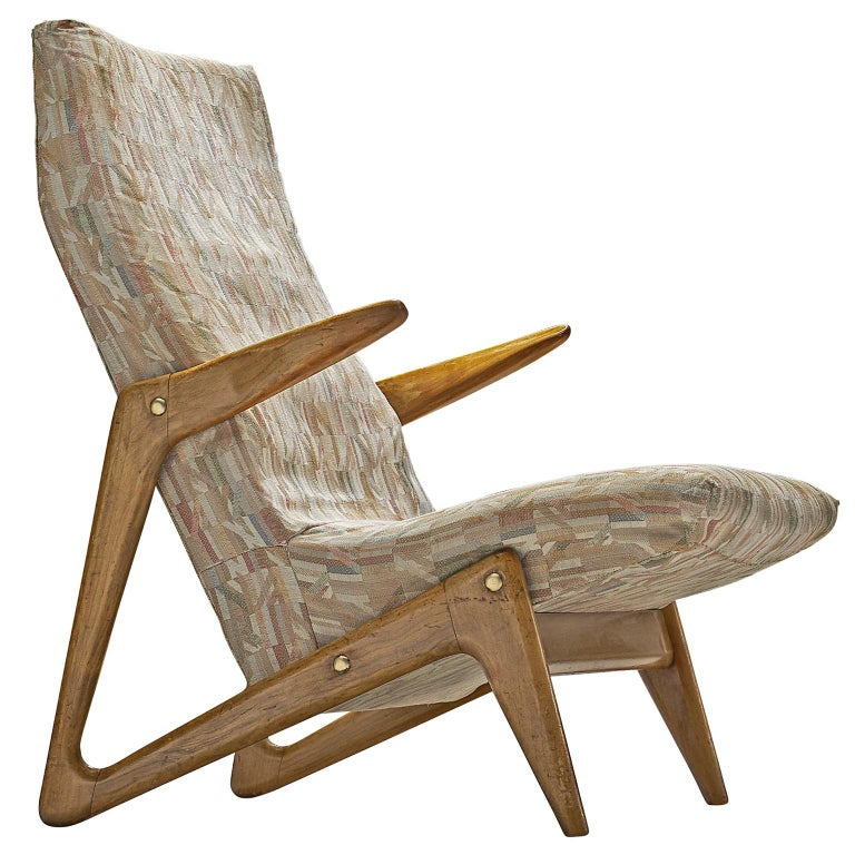 Dutch Lounge Chair with Original Upholstery