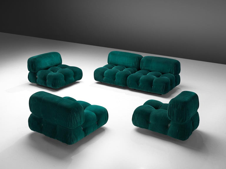 Mario Bellini, large modular 'Cameleonda' sofa in green velvet alpaca wool, Italy 1972.