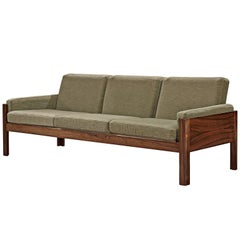Scandinavian Sofa Rosewood and Green Fabric