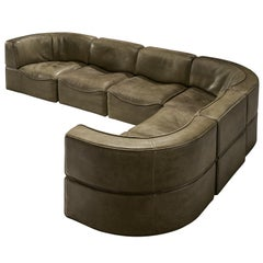 De Sede DS-15 Patinated Olive Green Sofa