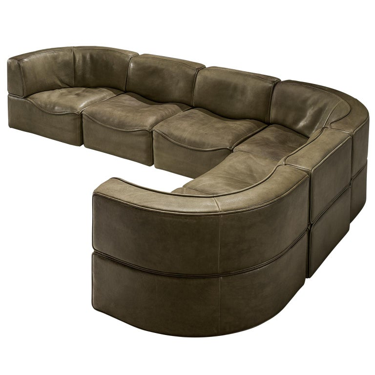 De Sede Ds 15 Patinated Olive Green Sofa For