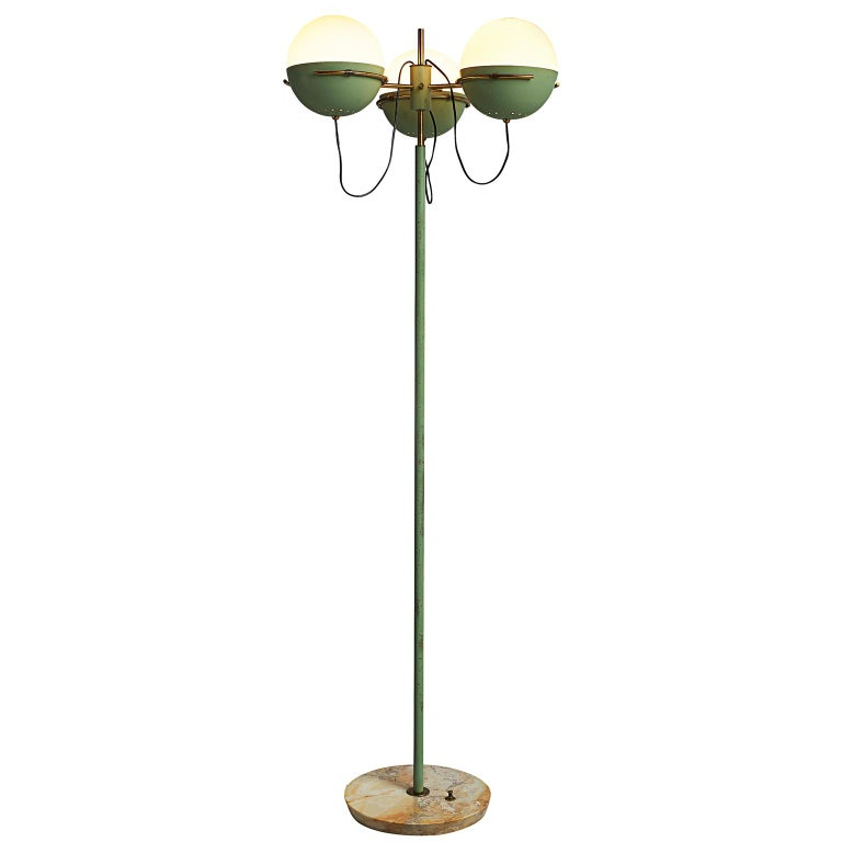 Italian Floor Lamp in Marble and Brass